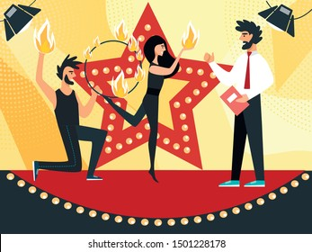 Tv Presenter Stand on Stage with Young Beautiful Couple Dancing and Juggling with Fire Performing Entertainment with Flame Talent Show Program for Judges and Viewers. Cartoon Flat Vector Illustration