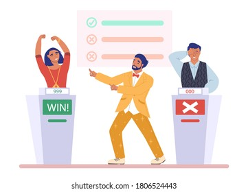 TV quiz show with host and two participants, clever boy and girl answering questions, flat vector illustration. Contestants playing quiz game show on television. Happy girl winning competition.