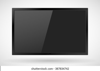 TV, realistic modern flat screen lcd, led, isolated. Vector illustration.  EPS10.
