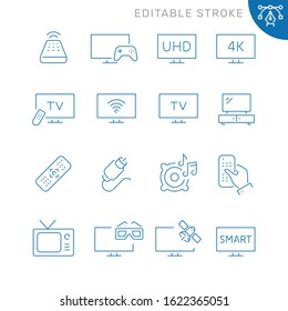 TV related icons. Editable stroke. Thin vector icon set
