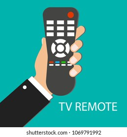 TV remote control. Distance control. Remote device. Hand holding TV remote. Green background. Vector illustration