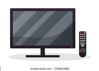 TV with remote control flat illustration. Household appliance isolated clipart. Modern smart technologies. Home gadgets, devices vector design element. Television, home cinema. Empty computer monitor