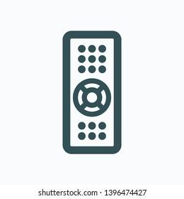 TV remote isolated icon, TV remote control outline vector icon