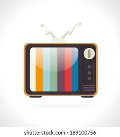 tv retro over gray background vector illustration