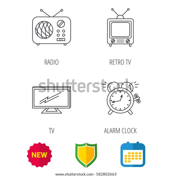 TV, retro radio and alarm clock icons. Widescreen TV linear sign. Shield protection, calendar and new tag web icons. Vector
