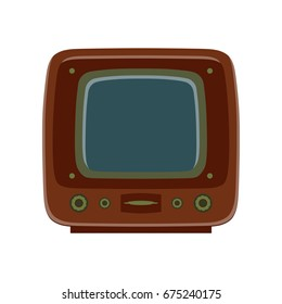 Tv retro television icon vector old vintage screen design technology illustration media