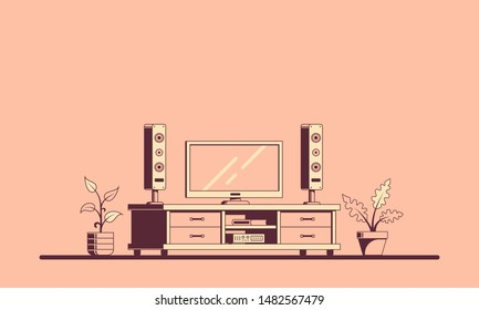 TV room with furniture. Flat style illustration of a room interior with big plasma TV. Banner design.