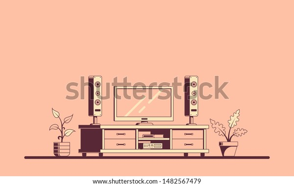 Tv Room Furniture Flat Style Illustration Stock Vector Royalty Free 1482567479