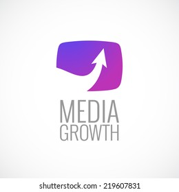 TV screen with arrow media logo template. Growth sign.