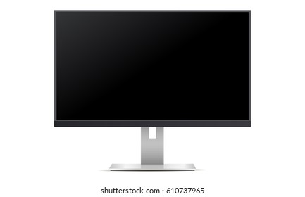 TV screen with black screen. Mockup monitor allow you to display your designs and layouts into a digital device showcase. Vector illustration