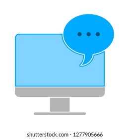 tv screen conversation icon -  monitor  conversation isolated, chat illustration - Vector conversation