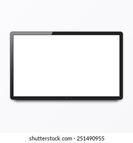 TV screen hanging on a wall. Vector.