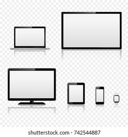 TV screen, lcd monitor, laptop, tablet, mobile phone and smart watch with reflection isolated on transparent background