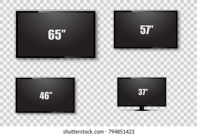 TV screen, Lcd monitor size diagonal display on transparent background. Vector illustration