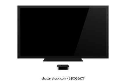 TV screen mockup with reciever isolated on white background. Can be use for your web design showcase, product, presentations, advertising and much more. Vector device - Apple TV