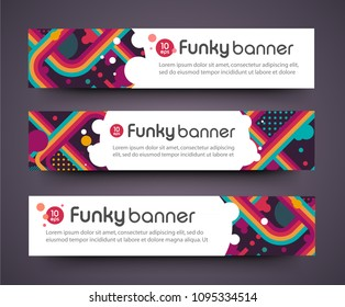 tv show broadcast funky neon vector abstract banner. Jazz, disco, party, graffiti, break dance festival. Print, video. identity.Elements set