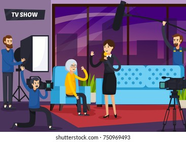 Tv show orthogonal composition with woman presenter, sound man, cameraman and elderly visitor in studio vector illustration