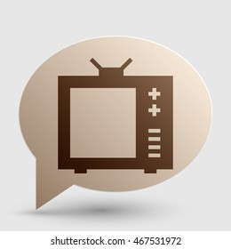 TV sign illustration. Brown gradient icon on bubble with shadow.