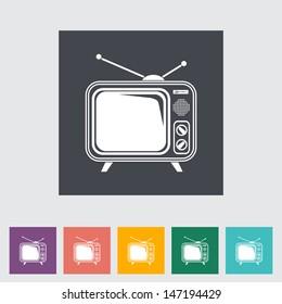 TV single flat icon. Vector illustration.