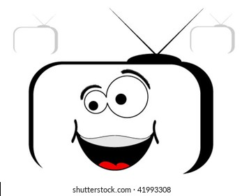 tv with smiley