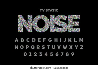 TV static noise effect font design, no signal, alphabet letters and numbers vector illustration
