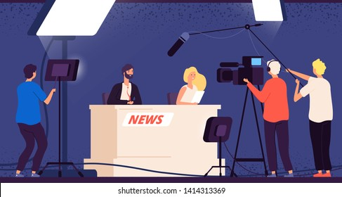 Tv studio news. Journalists stage desk tv broadcasting professional crew cameraman television interview show newscaster vector concept