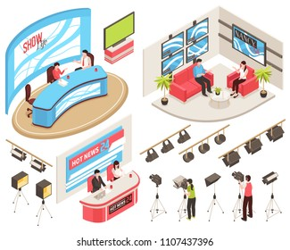 Tv studio of news and show programs, videographers with camcorders, light equipment, isometric set, isolated vector illustration