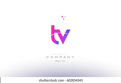 tv t v  pink purple modern creative gradient alphabet company logo design vector icon template