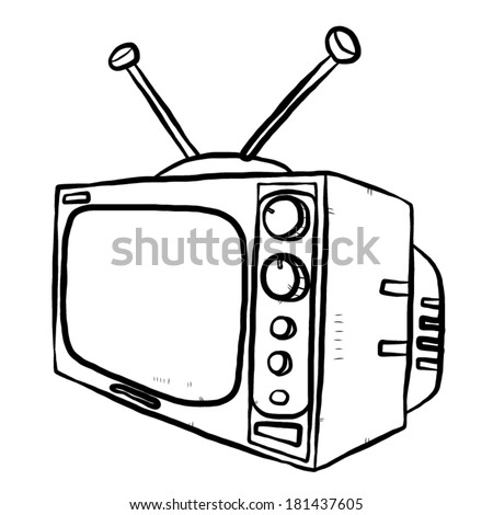 Tv Television Cartoon Vector Illustration Black Stock Vector