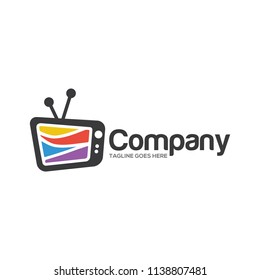 tv television electronic media logo icon vector template