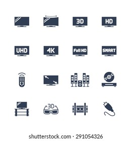 TV and television equipment vector icon set