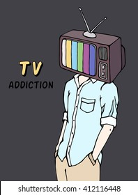 TV television mass media addiction social concept. Man with a TV for a head.  Television screen on a person's head. Brainwashing. Doodle hand drawn illustration