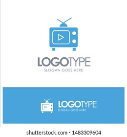 TV, Television, Play, Video Blue Solid Logo with place for tagline