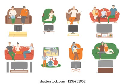 TV television watching, people sitting on couch enjoying film vector. Family and couples spending time at home looking at screen monitor entertainment