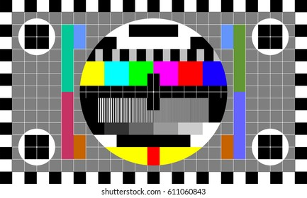 TV test card with rainbow multi color bars and geometric signals. Technological retro hardware from the 1980s. Minimal pop art print is suitable for a textile, walls, floors.