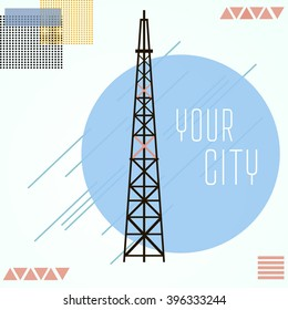 TV tower vector illustration in flat style. Your city. geometric background . communication tower and antennas in blue background, shadow and flat theme
