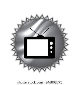 TV vector icon on round sticker