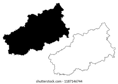 Tver Oblast (Russia, Subjects of the Russian Federation, Oblasts of Russia) map vector illustration, scribble sketch Kalinin Oblast map