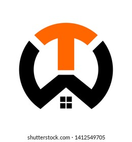 TW initial circle logo template vector