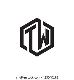 TW initial letters looping linked hexagon monogram logo