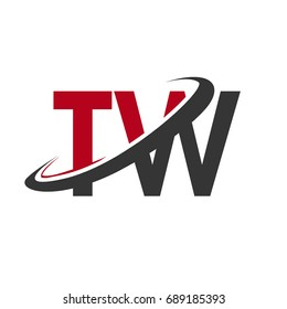 TW initial logo company name colored red and black swoosh design, isolated on white background. vector logo for business and company identity.