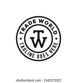 TW Initial Stamp logo design inspiration