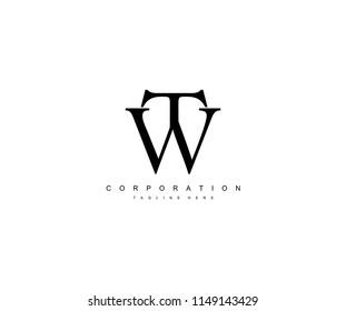 TW Letter Unique Minimal Monogram Linked Logotype