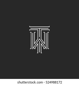 TW letters logo medieval monogram black and white combination intersection initials WT for wedding invitation emblem, T W hipster icon