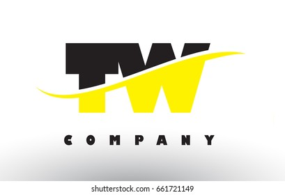 TW T W  Black and Yellow Letter Logo with White Swoosh and Curved Lines.