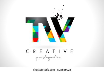 TW T W Letter Logo with Colorful Vivid Triangles Texture Design Vector Illustration.