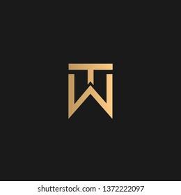 TW or WT logo vector. Initial logo vector golden letters on black background