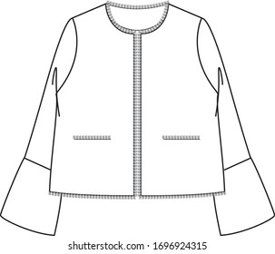 TWEED JACKET Design. Fashion flat sketch. Technical drawing APPAREL template.