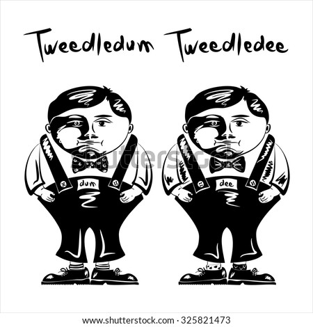 Tweedledum Tweedledee Vector Illustration Book Alice Vector de stock ...