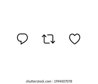 Tweet, Retweet, and Like. Icon Set of Social Media Elements